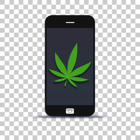Commercialise cannabis leaf application for mobile phone pasted on photo paper