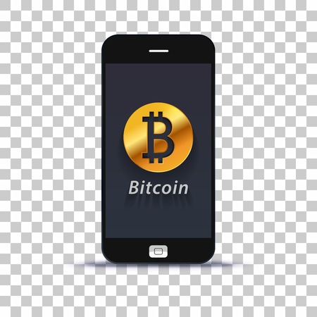Cryptocurrency bitcoin exchange application for mobile phone pasted on photo paper Illustration