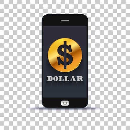 USA Dollar exchange application for mobile pone pasted on photo paper Stock Illustratie