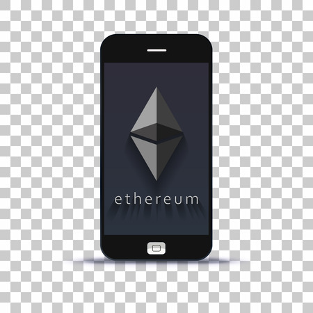 Cryptocurrency ethereum exchange application for mobile phone pasted on photo paper Illustration