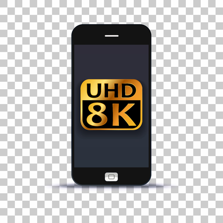 Ultra HD 8K application on mobile phone pasted on photo paper