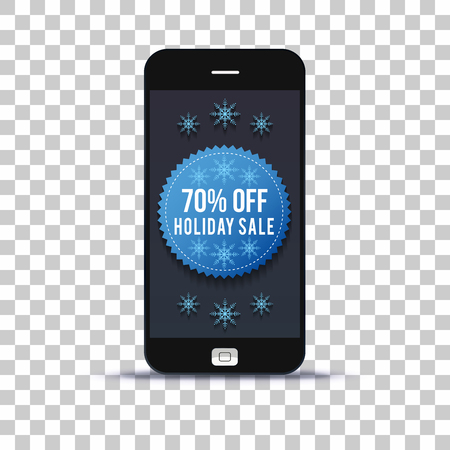 Winter sale label on mobile phone application pasted on photo paper