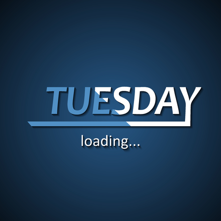Tuesday loading - funny inscription template based on week days Иллюстрация