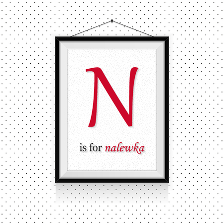 Alcohol expressions ABC in frame hanged on the wall - N letter is for nalewka Stock Illustratie
