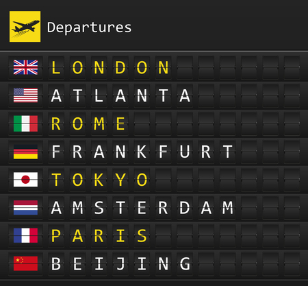 Airplane departures destination table board to major cities in the world with national flags posted inside Illusztráció