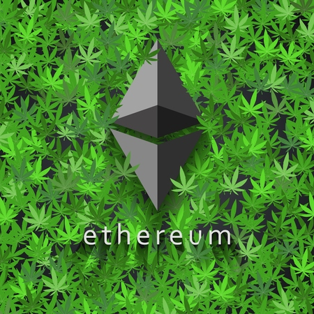 Ethereum cryptocurrency on cannabis leaves
