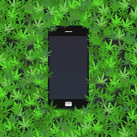 Mobile phone on cannabis leaves Illusztráció