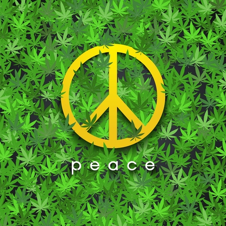 Peace sign on cannabis leaves