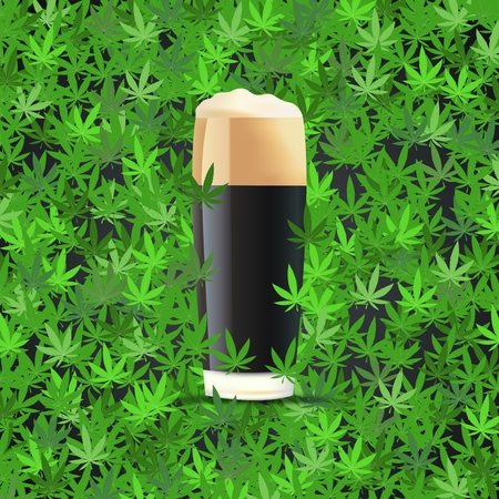 Black Beer on cannabis leaves background Illusztráció