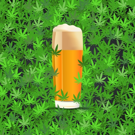 Beer on cannabis leaves background