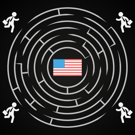 USA presidential election labyrinth - Competition to win the elections for the USA White House
