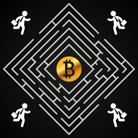 Bitcoin square labyrinth - businessman run to collect bitcoin- who will find it?