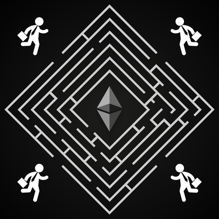 Ethereum square labirynth - businessman run to collect ethereum - who will find it? Illusztráció