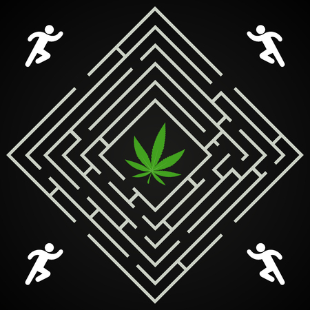 Cannabis square labyrinth - run to find the cannabis leaf background template Illusztráció
