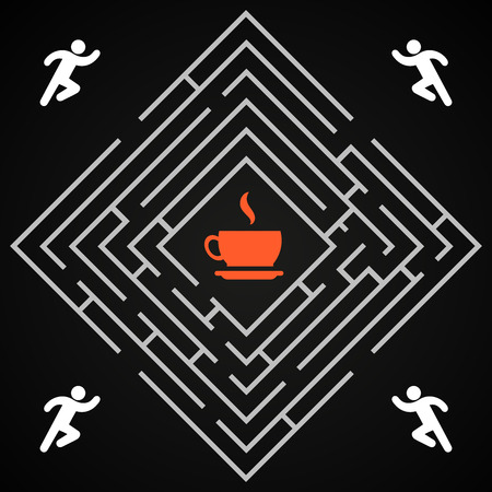Coffee labyrinth - man run for a cup of coffee background template