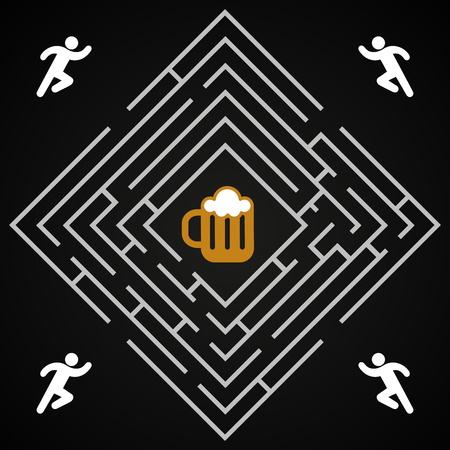 Beer labyrinth -  man run for a glass of dark beer background template