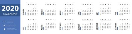 Simple 2020 monthly calendar, planner and schedule