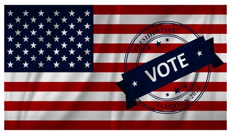 USA Presidential election 2020 vote banner background - waving flag design Stock Illustratie