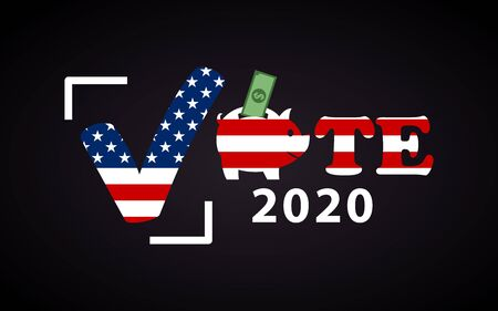 USA 2020 Presidential election poster with piggy bank - funny inscription template