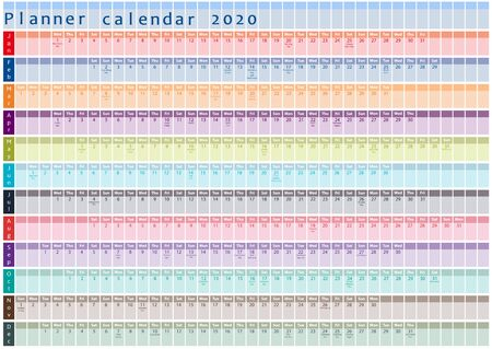 2020 Planner calendar, organiser and schedule with holiday days posted inside Stockfoto - 136378429