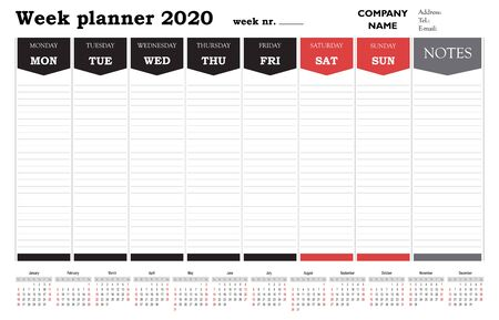 Week planner 2020 calendar, schedule and organiser for companies and private use Stock Illustratie