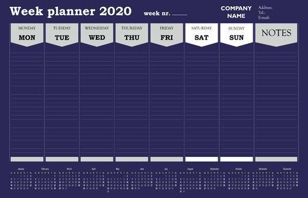 Week planner 2020 calendar, schedule and organiser for companies and private use Illustration