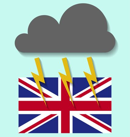 United Kingdom conflict situation background  illustrated with clouds and lights Stock Illustratie