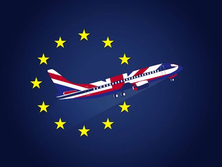 Brexit background template, United Kingdom leaving the European Union symbolized with a flying airplane