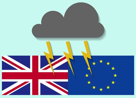 United Kingdom and European Union  situational background design illustrated with clouds and lights