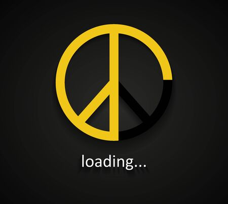Yellow Peace loading sign on dark background template