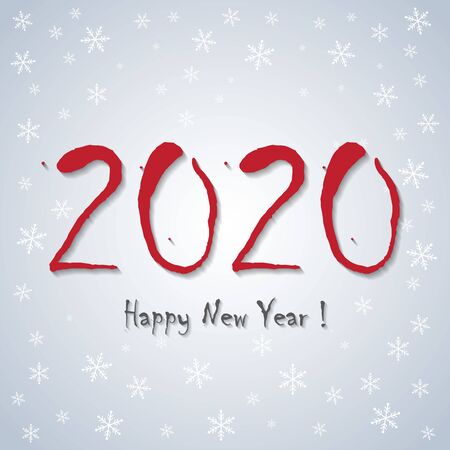 Happy New Year!  2020 - greeting card, banner and background - white snowflakes design Illustration