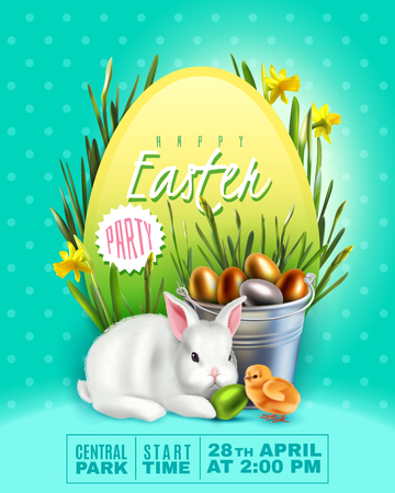 Banner with Easter bunny and big egg