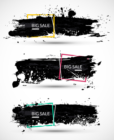 Sale banner with ink splashes on background