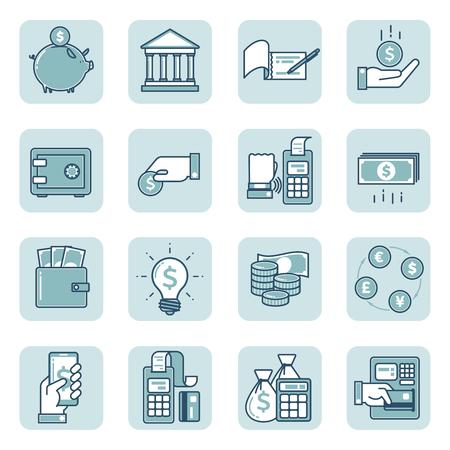 Ensemble simple d'icônes vectorielles au design plat sur le thème financier, bancaire et commercial. Objets isolés sur fond blanc. Collection d'icônes vectorielles