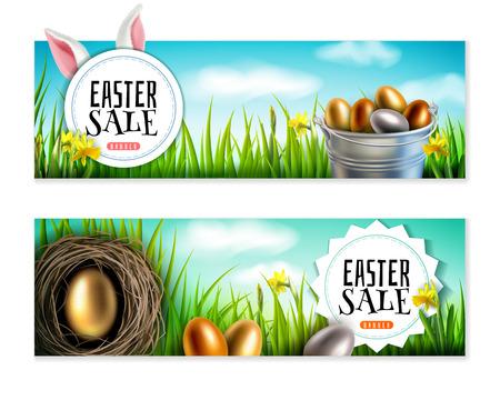 Bannière de Pâques avec des œufs d'or et d'argent, des oreilles de lapin, un seau, de l'herbe verte contre le ciel bleu avec des nuages