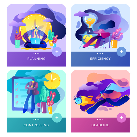 Four banners, website template, in the style of modern flat for time management, financial management and business  イラスト・ベクター素材