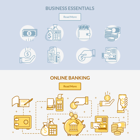Two horizontal bank banners with linear icons on the banking theme and cloud payments concept, the network of cash handling, connections and actions with money