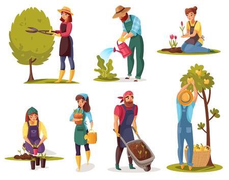 Les gens de dessin animé de jardinage mettent des hommes et des femmes à travailler dans le jardin. Coupe d'arbres, plantation et arrosage de plantes, récolte sur fond blanc.
