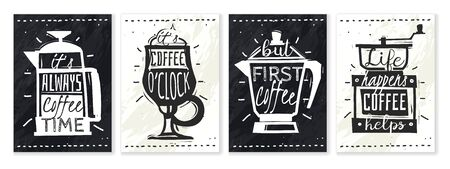 Coffee posters set. Four vertical posters with subjects on the coffee theme and built-in quotes Standard-Bild - 133331633