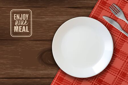 realistic plate horizontal illustration. white clean plate on wooden table with knife and fork wishing you Bon appetit red checkered tablecloth