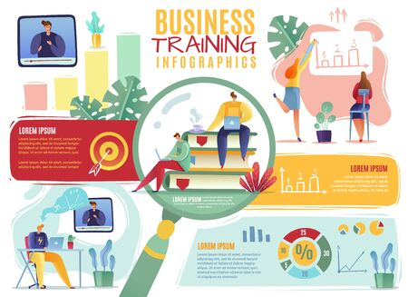 Business training infographics. business people hiring reviewing resumes training beginners employee search cartoon flat style horizontal poster with infographics