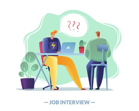 job interview simple illustration. job interview simple illustration the employer and the applicant on a white background people at the table in the office