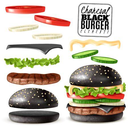 Conjunto de elementos de hamburguesa de carbón negro realista