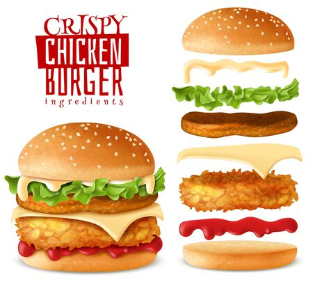 Realistic crispy chicken burger elements set 向量圖像