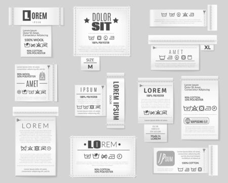 Laundry flat icons textile labels set. a set of realistic textile labels on grey background with laundry wash clothes care instruction text logos vector collection