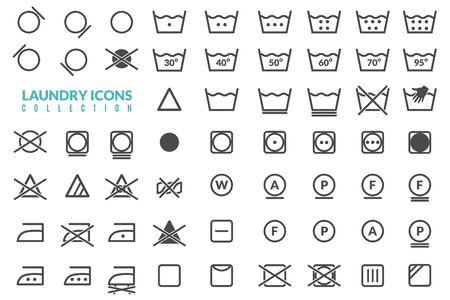 Wasserij plat pictogrammen instellen. Grote reeks lineaire pictogrammen op het thema van het wassen van textielafbeeldingen voor instructies op geïsoleerde objecten op witte achtergrond Vector Illustratie