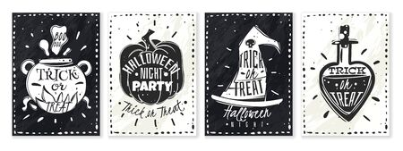 Halloween cartoon chalk posters. set of four vertical posters with subjects on the Halloween theme and built-in holiday inscriptions Standard-Bild - 133331797