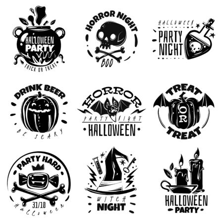 Halloween cartoon emblems. great black white set emblems Halloween theme flat cartoon style hand-drawn collection all items are isolated