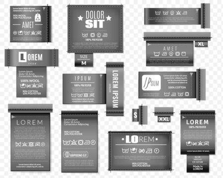 Laundry flat icons black textile labels set