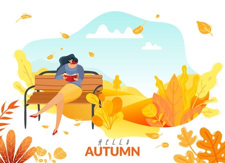 Autumn people poster. a woman sitting on a bench in the autumn Park read a book defoliation autumn flora